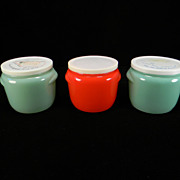 Three Vintage Glasbake Honey Pots with Lids