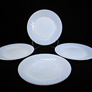 Four Fire King Azurite Swirl Dinner Plates