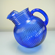 Vintage Hazel Atlas Cobalt Blue/Ritz Blue Fine Rib Tilt Pitcher