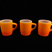 Three Fire King Fired-On Orange Mugs with Ribbed Bottoms