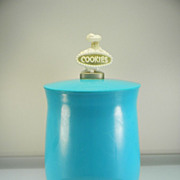 Vintage 1950's Plastic Turquoise Blue Cookie Jar with Cookie Chef Handle