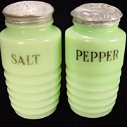 Jadite Ribbed Salt & Pepper Shakers by Jeannette