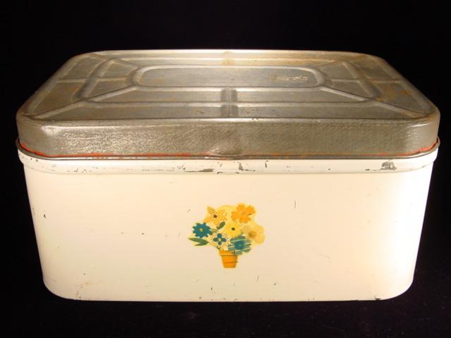 Vintage White Bread Box with Flower Pot Motif