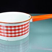 Vintage Enamel 1 1/2 Quart Pan with Red & White Gingham Band