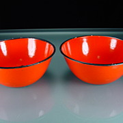 Two Vintage Red Enamel Bowls with Black Trim
