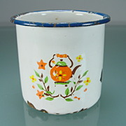 Primitive White Enamel Cup with Tea Pot & Floral Motif