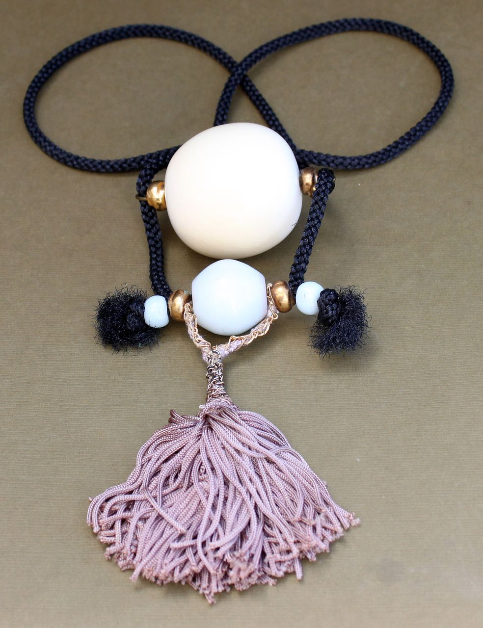Vintage Chinese Peking Glass & Huge Ivory Bead Necklace