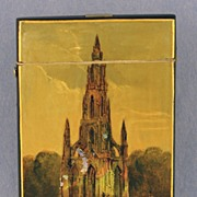 SALE RARE, Circa 1850, English, Papier Mache Calling Card Case Featuring the Sir Walter Scott