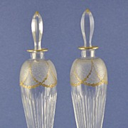 SALE Elegant, PAIR, (2) 19th Century, Tall, Clear Crystal Perfume / Cologne Bottles with Etche