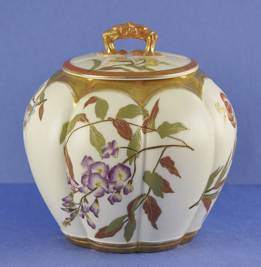 Gorgeous, Circa 1890, English, Melon Shaped, Porcelain, Royal Worcester Biscuit Barrel / Jar