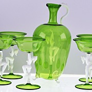 SALE Superb, Circa 1920-30, Austrian, Green & White, Bimini Glass, Art Deco, (6) SIX Piece, Co