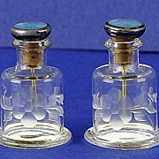 SALE PAIR! MINI, English, (Sheffield) Circa 1905, Sterling Silver & Etched Crystal Perfume / S