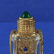 SALE SHOWY! Circa 1930's, Mini, Jeweled, Czechoslovakian, Czech, Purse Perfume / Scent Bottle
