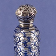 SALE Shimmering! Circa 1880, Electric Blue Cut to Clear Overlay, Mercury Glass Perfume / Scent