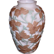 Consolidated Glass Brown & Green Dogwood Vase