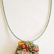 Butterfly Garden Hand Wired Beaded Brooch / Necklace