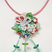 Floral Medley Hand Wired Beaded Necklace / Brooch