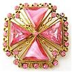 Pink Unfoiled Givre Rhinestone Maltese Cross Brooch