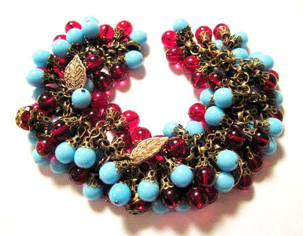 Turquoise & Ruby Red Glass Charm Bracelet
