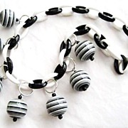 Black & White Plastic Chain, Striped Bauble Bead Necklace