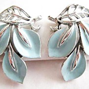 Baby Blue Enamel Leaf Earrings - Signed Lisner