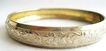 Repousse Silvertone Flower & Leaves Bangle Bracelet