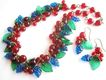Glass Red Cherries, Blue Grapes & Green Leaves Bracelet and Earrings
