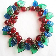 Glass Red Cherries, Blue Grapes & Green Leaves Bracelet