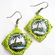 Lime Filigree Aloha Hawaii Glass Cabochon Palm Tree Earrings