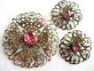 Enamel & Rhinestone Pin and Earrings - West Germany