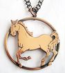 Running Horse Equestrian Copper Pendant Necklace
