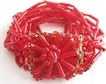 Red Glass 14 Strand Bracelet with Bead Clasp - Germany