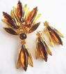 Topaz Yellow & Amber Rhinestone Navette Pin & Earrings
