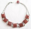 Square Cut Faceted Carnelian Art Deco Bracelet