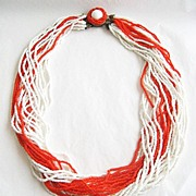 Orange & White Glass Seed Bead Torsade Necklace