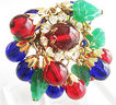 Ruby Red, Colbalt Blue & Emerald Green Glass Bead Cluster Gypsy Ring