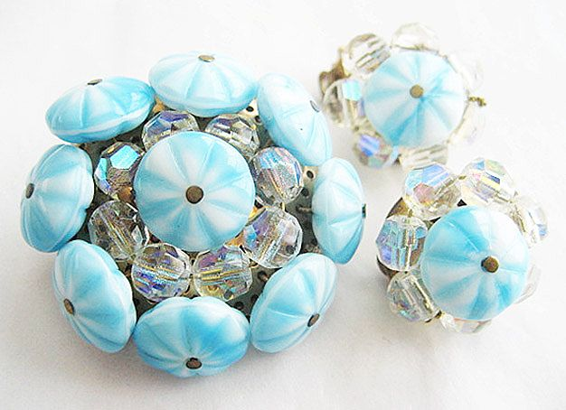 Blue & White Flower and Crystal Bead Pin and Earrings Set