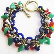Garden of Eden Cobalt Blue Glass Link Bracelet with Apple & Snake