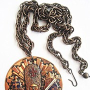 Copper Enamel Queens Guard Bristish Heraldic Pendant Necklace
