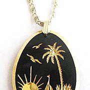 Black Glass & Gold Palm Tree, Sailboat and Sun Pendant Necklace - Germany