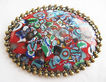 Oversized Millefiori Glass Oval Cabochon Pin - Western Germany