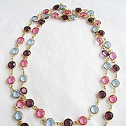 "Vintage 36"" Bezel Set Pink, Blue & Purple Unfoiled Crystal Necklace - Signed Swarovski"