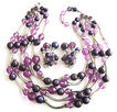 Shades Of Purple Bead Five Strand Necklace & Earrings Demi - Signed DeMario