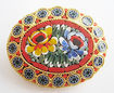Vintage Oval Italian Mosaic Tile Flower Pin