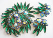 Emerald Green Navette & Aurora Blue Rhinestone Swirl Pin and Earrings Set