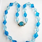 Faceted Blue Lucite Plastic Bead Necklace - West Germany