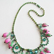 Hand Dyed Rhinestone Necklace with Dangling Pink & Green Watermelon Beads