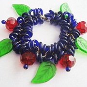 Ruby Red Glass Bead, Cobalt Blue Czech Rings & Large Leaves Chunky Jewel Tone Bracelet