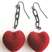 Red Flocked Velvet Heart & Black Chain Valentine Earrings