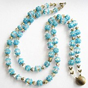 Double Strand Aurora Crystal Necklace with Blue Soft Plastc Bead Caps